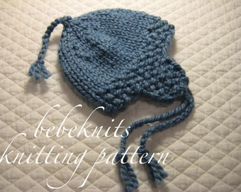 0b1f2d4c0c44e Bebeknits Quick Knit Ear Flap Baby Hat Knitting Pattern in 3 SIzes