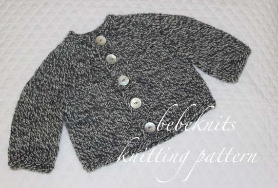 Bebeknits Simple Round Yoke Toddler Cardigan Knitting Pattern Etsy