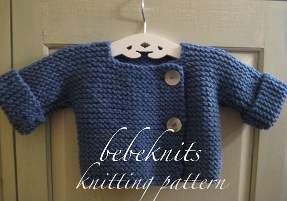 Bebeknits Simple French Style Baby Cardigan Knitting Pattern Etsy