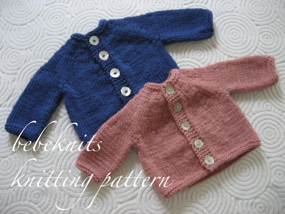 Bebeknits Simple Round Yoke Baby Cardigan Knitting Pattern Etsy
