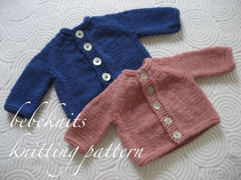 12f2ee1ab Bebeknits Simple Round Yoke Baby Cardigan Knitting Pattern
