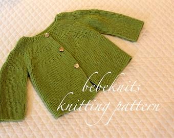 Bebeknits Classic European Toddler Cardigan Knitting Pattern