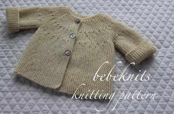 Bebeknits Modern European Baby Cardigan Knitting Pattern Etsy