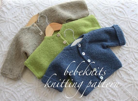 Bebeknits Bordeaux Baby Cardigan Knitting Pattern Etsy