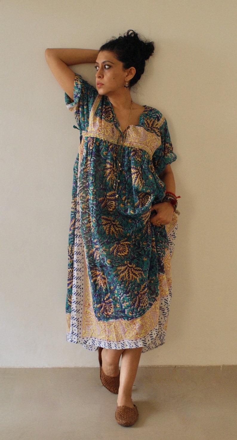 f6b241d5ea Indian Block Print Cotton Gauze Long Bohemian Chic Hippie | Etsy