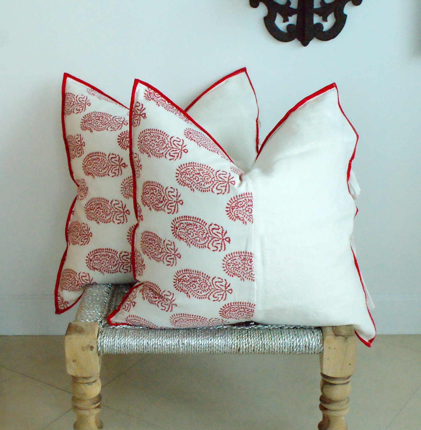 Indian Hand Block Print Throw Pillows Cushion Covers Red