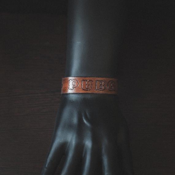 Unique Handmade Leather Bracelet With Pubg Tag Original Bracelet For Gamer Gamer Cuff Gift For Boyfriend Pubg Fan Gift Pubg Cosplay