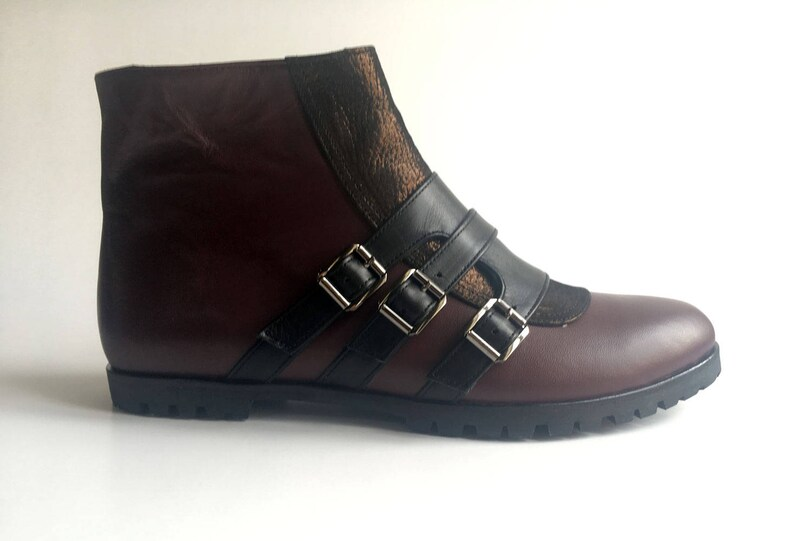 46d2c24452365 JOANNA - Burgundy - FREE SHIPPING - Handmade Leather Women Boot 2017-2018  Winter Collection