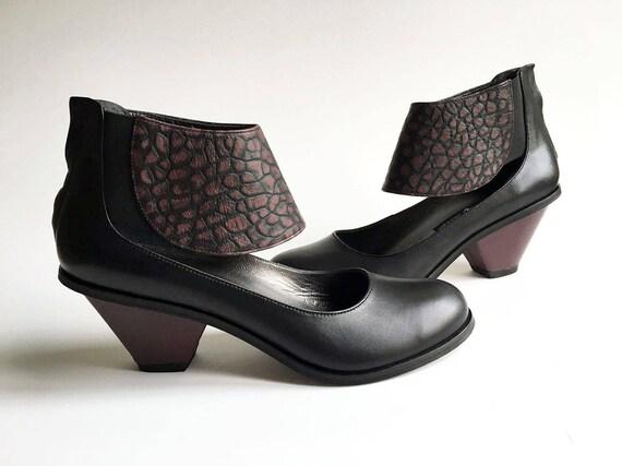 Chaussures Chaussures Chaussures en cuir fait à la main de MARTINE - noir/Bordeaux - livraison gratuite | Une Bonne Conservation De Chaleur  6708a8
