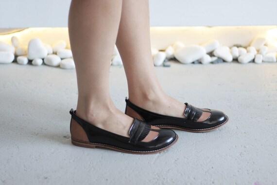 PONYO - Black and Orange - FREE  SHIPPING Handmade Leather Shoes  FREE  Summer     240233