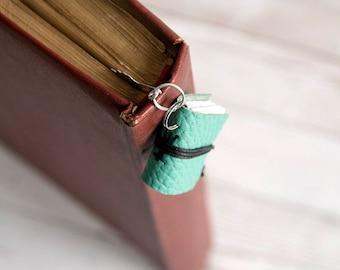 Miniature book bookmark, leather bookmark, mini book charm, book mark, book jewelry teacher librarian book lover reader, coworker gift