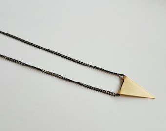 women necklace, Boho necklace, Geometric necklace, Christmas gift, for her, Triangle Charm, Black and Gold Necklace, fashion necklace