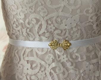 White Belt - Waist Belt - Gold Belt - Wedding Accessories - Wedding Sash - Wedding Dress Belt - Wedding Gown Belt - Bridal Accessories