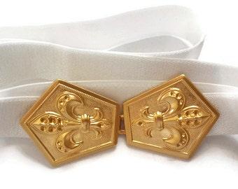 White Bridal Belt - Gold Wedding Belt - jeweled belt - Wedding Sash - Wedding Dress Belt - Wedding Gown Belt - bridal Belt - bridesmaid belt
