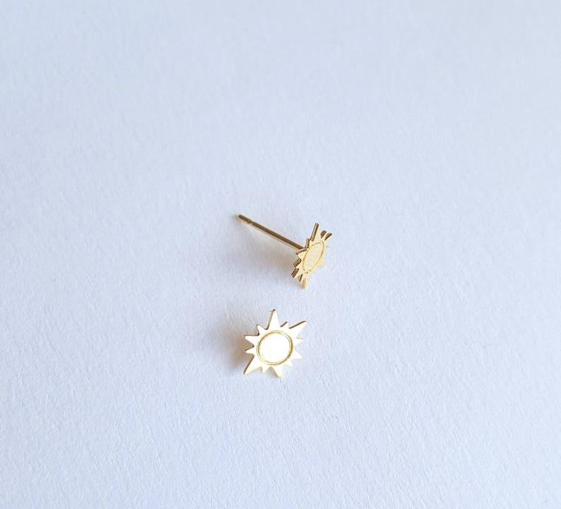 Gold Plated Chain Earrings Dainty Sun Earrings Thin Chain Stick Earrings Delicate earrings Long Threader Earrings sun jewelry