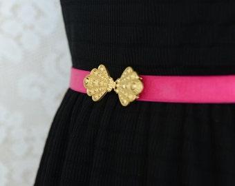 Fuchsia belt, Waist Belt, Dress belt, Gold Buckle,  Bridal belt, Wedding belt, Bridesmaids Belt, Stretchy Belt, Sash Belt, Pink belt, Ribbon