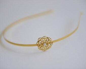 Gold Hair Band - Bridal Hair Band - Wedding Hair Accessory - Bridesmaids Hair Jewelry - Wedding Hair Band
