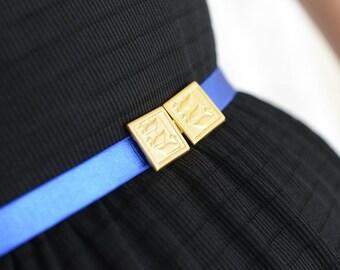 Royal Blue belt - Gold Belt - Bridesmaids Belt - wedding belt - Stretch Belt - Skinny Belt - Evening Dress Belt - Something Blue - Gold duck