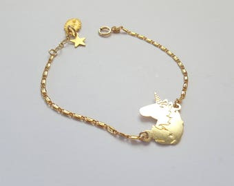 Unicorn Bracelet, Charm bracelet, Gold bracelet, Dainty bracelet, Unicorn jewelry, Girls bracelet,  Birthday gift, unicorn jewelry