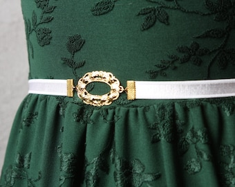 White Bridal Belt - Gold Wedding Belt - jeweled belt - Wedding Dress Belt - Wedding Gown Belt - Wedding Accessories - White Belt - skinny
