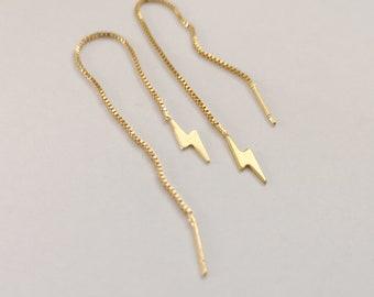 Threader Earrings, Gold Plated Chain Earrings, lightning bolt earrings,  thin Chain Stick Earrings, flash threaders, flash earrings