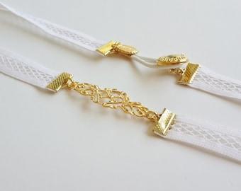 White Bridal Belt - Gold Belt - Wedding Belt - net belt - Wedding Dress Belt - Wedding Gown Belt - Strech Belt - Bridal Accessories - skinny
