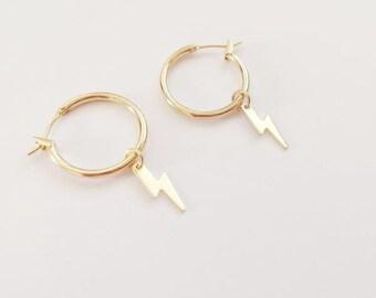 Hoop Earrings, Gypsy earrings, Gold hoop Earrings, lightning bolt hoops, thunder bolt Earrings, loop earrings, Silver hoops with charm