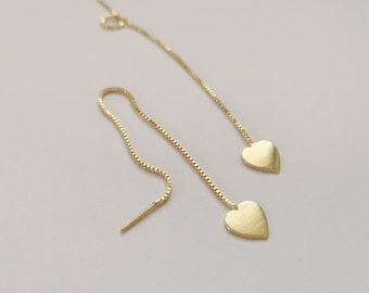 Threader Earrings, Gold Plated Chain Earrings, heart earrings,  thin Chain Stick Earrings, heart threaders, heart jewelry