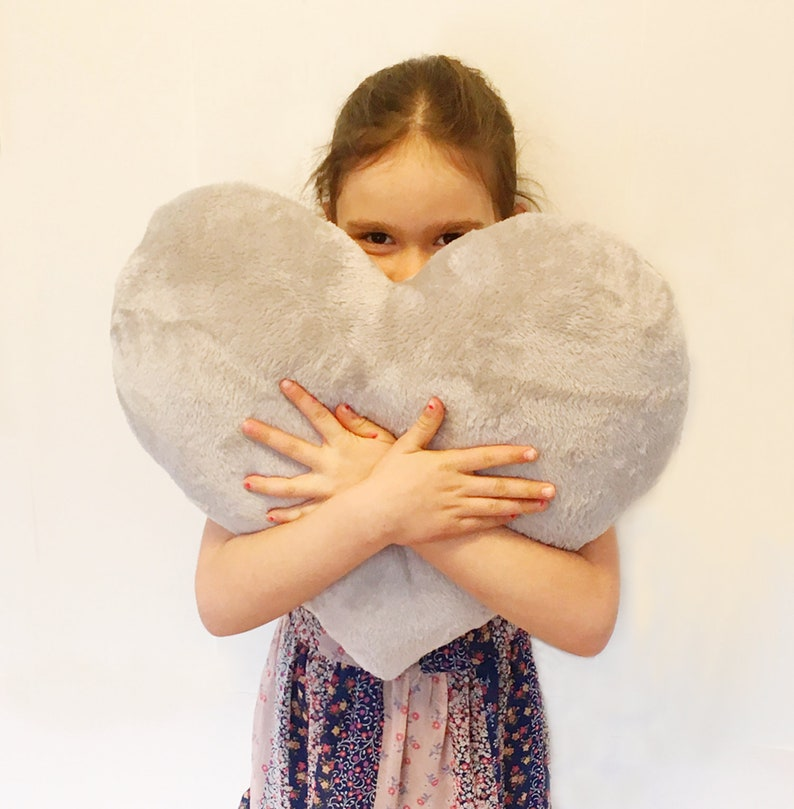 Gray Fluffy Heart Pillow from Babycricket. #homedecor #pillows #fauxfur