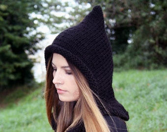 Pixie hat · Knit hat · Fairy · winter · woodland · Handknit Wool · Pixie hood-  witch hat - fairy clothes - elven dress - gift for her