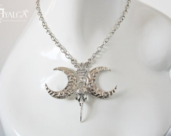 Raven moon necklace- statement jewelry