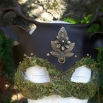 unique piece. ready to ship - leather mask with moss - fantasy leather mask -  antlers mask - leather mask - free shipping