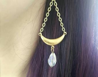 Boho moon earrings- statement jewelry