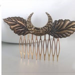 bronze and gold hair comb with leaves and crescent moon metal - elven forest haircomb - gold leaves haircomb - gold leaves hair clip - hair