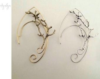 elven ear - ear cuff - elvish earring - branches earcuff - elf ear- statement jewelry- branches ear cuff - elven forest - fairy earrings