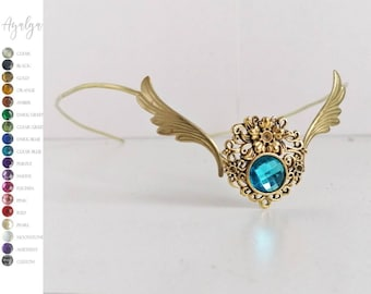 Elvish tiara with wings and gem - snitch crown - medieval crown - woodland crown - circlet - tiara crown - bride tiara - elves - wings crown