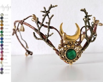 Elven woodland tiara with moon and branches