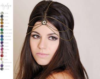 headpiece - headdress - chains • bridal accesories • vintage headpiece- statement jewelry
