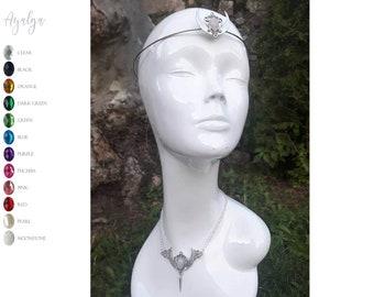 Moon crown - elvish moon  set -  moonstone- statement jewelry