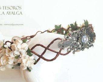 Floral crown - wedding crown - floral headpiece - bridal tiara- statement jewelry