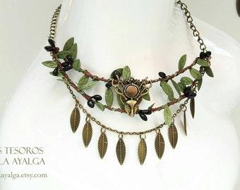 Woodland tribal necklace- statement jewelry