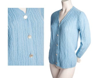 Vintage 1960s powder blue button-down cardigan sweater -- size small / xs