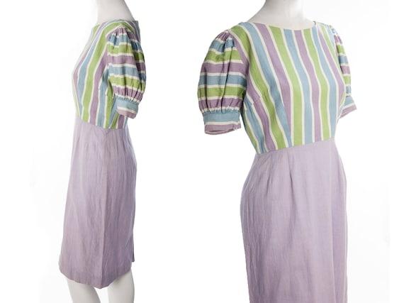Vintage 40s 50s pastel striped dress -- princess s