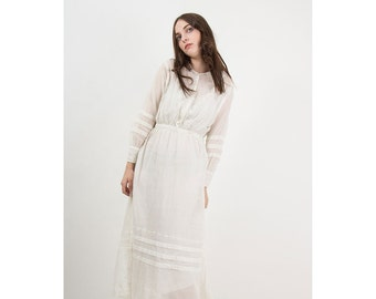 Antique Edwardian dress / Vintage 1910s era sheer white cotton embroidered lingerie dress XS