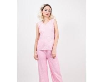 1930s Pajamas / Vintage pale pink rayon 2 piece pyjama set / Wide leg high waist lounge wear /