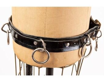 Vintage punk rock bondage belt / 1980s patent leather O ring studded belt