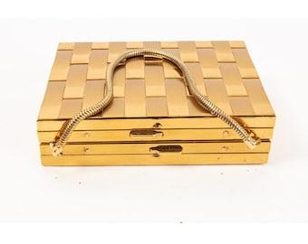 Vintage gold makeup compact purse / 1950s cigarette case evening bag
