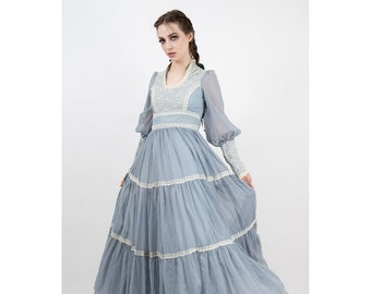 Vintage Gunne Sax / 1970s Dusty blue voile lace tiered prairie dress / Sheer romantic maxi dress / Bishop puff sleeves / S