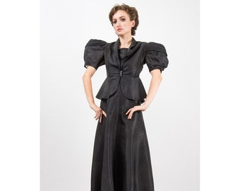 1930s evening gown / Vintage black rayon dress peplum jacket set / Trapunto balloon puff sleeves / S