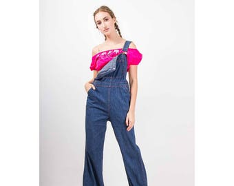 eddb68bee0fe Vintage denim overalls   1970s Turtle bax bell bottom dark wash jumpsuit    Denim work wear   Jean flares   S
